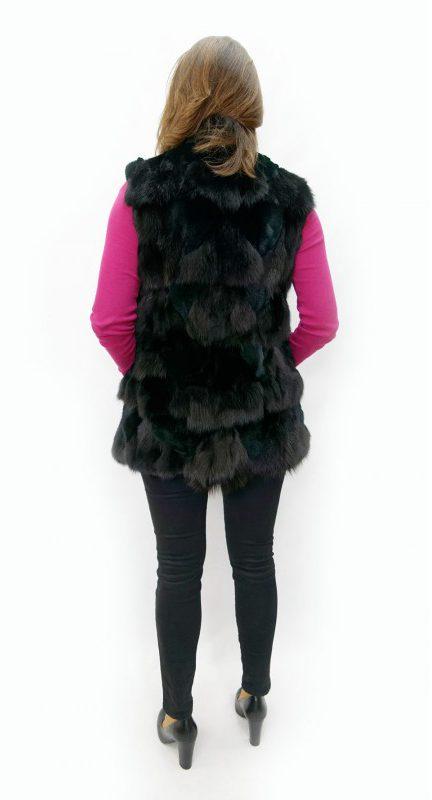 Kamizelka z lisa, kolor czarny, r. M