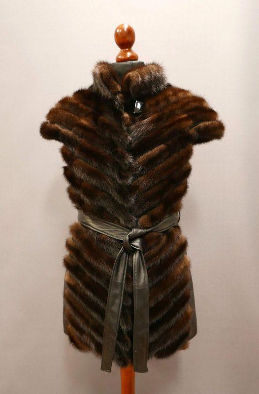 Kamizelka z norek + skóra, kolor brązowy, r. M